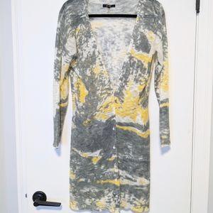Yest Loose Woven Watercolor Tie Dye Long Cardigan